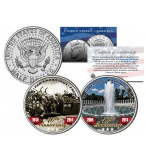World War II D-DAY & WWII Memorial - Anniversary - JFK Kennedy Half Dollar Colorized 2-Coin Set