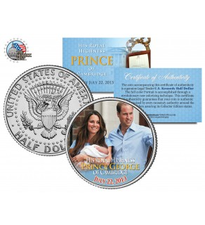 """ROYAL BABY """" Prince George of Cambridge """" - William & Kate - JFK Kennedy Half Dollar US Colorized Coin"""