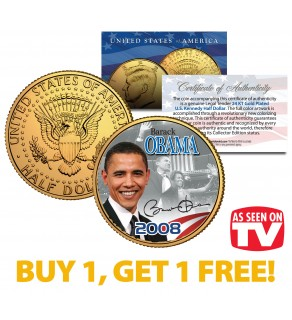 BARACK OBAMA 2008 JFK Kennedy Half Dollar Coin 24K Gold Plated - AS SEEN ON TV - BUY 1 GET 1 FREE - bogo