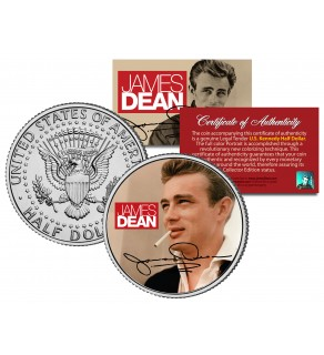 """JAMES DEAN """" Signature """" JFK Kennedy Half Dollar US Coin - Officially Licensed"""