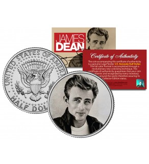 "JAMES DEAN "" Rebel Without A Cause - Leaning on Wall  "" JFK Kennedy Half Dollar US Coin - Officially Licensed"