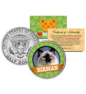 BIRMAN Cat JFK Kennedy Half Dollar U.S. Colorized Coin