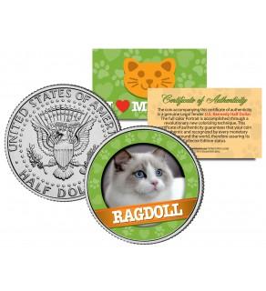 RAGDOLL Cat JFK Kennedy Half Dollar U.S. Colorized Coin
