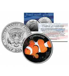 CLOWN FISH - Tropical Fish Series - JFK Kennedy Half Dollar U.S. Colorized Coin