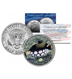 TRIGGERFISH - Tropical Fish Series - JFK Kennedy Half Dollar U.S. Colorized Coin