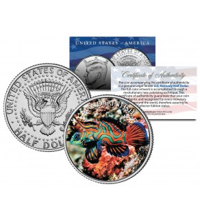 MANDARIN FISH - Tropical Fish Series - JFK Kennedy Half Dollar U.S. Colorized Coin