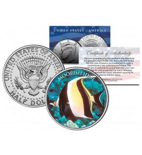 MOORISH IDOL FISH - Tropical Fish Series - JFK Kennedy Half Dollar U.S. Colorized Coin