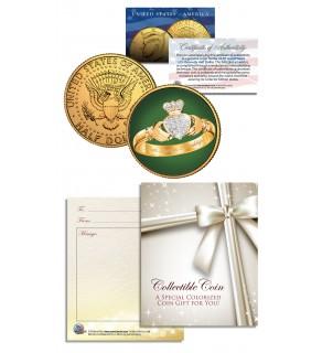 CLADDAGH RING 24K Gold Plated JFK Kennedy Half Dollar U.S. Colorized Coin