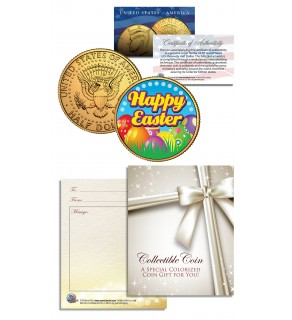 HAPPY EASTER Easter Eggs JFK Kennedy Half Dollar Coin 24K Gold Plated