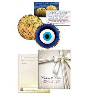EVIL EYE AMULET Kennedy JFK Half Dollar U.S. 24K Gold Plated Talisman LUCKY COIN
