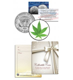 MARIJUANA POT LEAF Collectible JFK Kennedy Half Dollar U.S. Colorized Coin