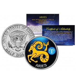 ARIES - Horoscope Astrology Zodiac - JFK Kennedy Half Dollar US Colorized Coin