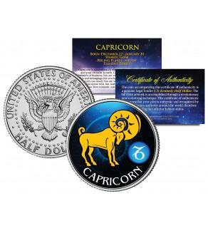 CAPRICORN - Horoscope Astrology Zodiac - JFK Kennedy Half Dollar US Colorized Coin