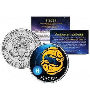 PISCES - Horoscope Astrology Zodiac - JFK Kennedy Half Dollar US Colorized Coin