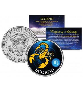 SCORPIO - Horoscope Astrology Zodiac - JFK Kennedy Half Dollar US Colorized Coin