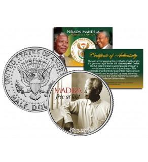 "NELSON MANDELA 1918-2013 "" MADIBA - FREE AT LAST "" JFK Kennedy Half Dollar US Coin"