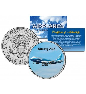 BOEING 747 - Airplane Series - JFK Kennedy Half Dollar U.S. Colorized Coin
