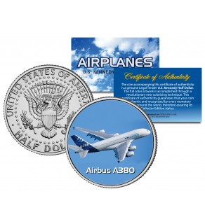 AIRBUS A380 - Airplane Series - JFK Kennedy Half Dollar U.S. Colorized Coin