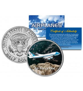 AIR FORCE ONE - Airplane Series - JFK Kennedy Half Dollar U.S. Colorized Coin