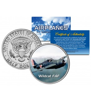 WILDCAT F4F - Airplane Series - JFK Kennedy Half Dollar U.S. Colorized Coin