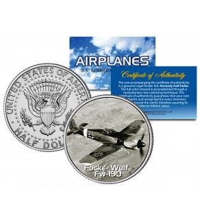 FOCKE-WULF FW-190 - Airplane Series - JFK Kennedy Half Dollar U.S. Colorized Coin