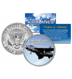 ENGLISH ELECTRIC LIGHTNING - Airplane Series - JFK Kennedy Half Dollar U.S. Colorized Coin