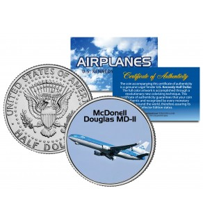 McDONELL DOUGLAS MD-II - Airplane Series - JFK Kennedy Half Dollar U.S. Colorized Coin