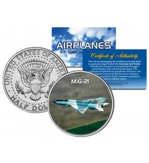 MiG-21 - Airplane Series - JFK Kennedy Half Dollar U.S. Colorized Coin