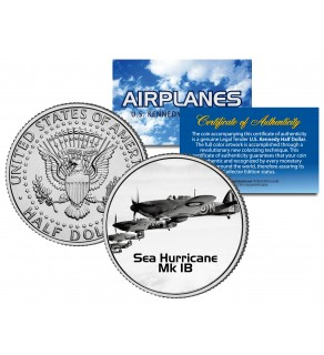 SEA HURRICANE MK IB - Airplane Series - JFK Kennedy Half Dollar U.S. Colorized Coin
