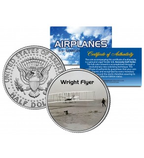 WRIGHT FLYER - Airplane Series - JFK Kennedy Half Dollar U.S. Colorized Coin