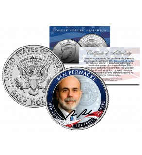 BEN BERNANKE 14th Chairman Federal Reserve JFK Kennedy Half Dollar US Colorized Coin