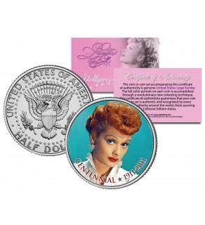 LUCILLE BALL - Centennial Birthday 1911-2011 - JFK Kennedy Half Dollar US Coin - I Love Lucy - Officially Licensed
