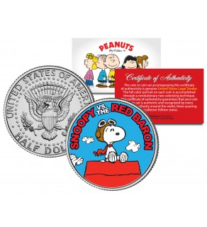 "Peanuts "" SNOOPY vs. RED BARON "" JFK Kennedy Half Dollar U.S. Coin - Officially Licensed"