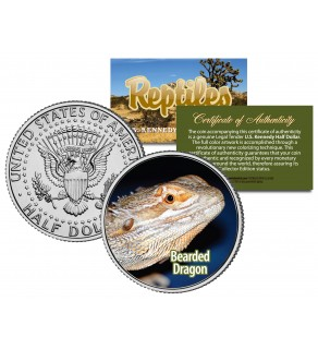 BEARDED DRAGON - Collectible Reptiles - JFK Kennedy Half Dollar U.S. Coin POGONA LIZARD