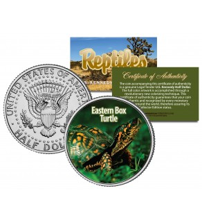 EASTERN BOX TURTLE - Collectible Reptiles - JFK Kennedy Half Dollar US Colorized Coin NORTH CAROLINA
