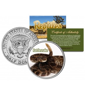 RATTLESNAKE - Collectible Reptiles - JFK Kennedy Half Dollar U.S. Colorized Coin