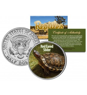 RED EARED SLIDER - Collectible Reptiles - JFK Kennedy Half Dollar US Colorized Coin TERRAPIN TURTLE