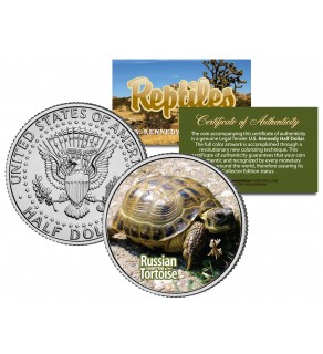 RUSSIAN TORTOISE - Collectible Reptiles - JFK Kennedy Half Dollar US Colorized Coin HORSFIELD TURTLE