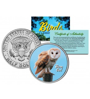 BARN OWL Collectible Birds JFK Kennedy Half Dollar Colorized U.S. Coin