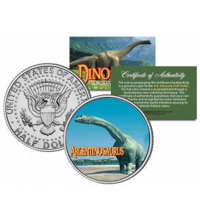 ARGENTINOSAURUS Collectible Dinosaur JFK Kennedy Half Dollar US Colorized Coin