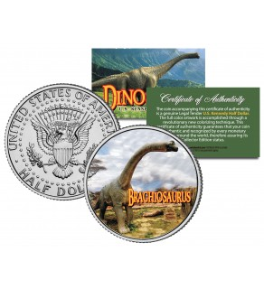 BRACHIOSAURUS Collectible Dinosaur JFK Kennedy Half Dollar US Colorized Coin