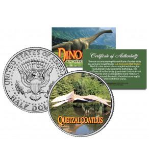 QUETZALCOATLUS Collectible Dinosaur JFK Kennedy Half Dollar Colorized Coin PTEROSAUR