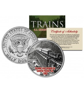 CENTRAL PACIFIC GROUNDBREAKING 1863 - Famous Trains - JFK Kennedy Half Dollar U.S. Colorized Coin