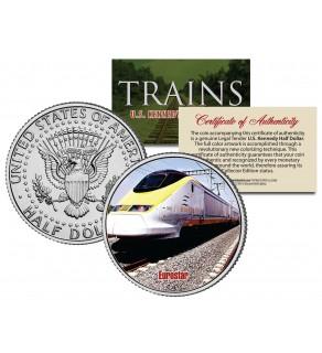 EUROSTAR TRAIN - Famous Trains - JFK Kennedy Half Dollar U.S. Colorized Coin