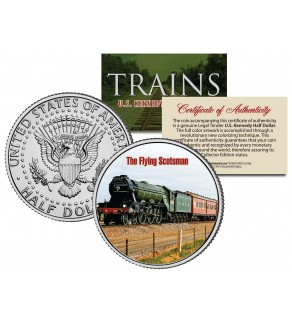 THE FLYING SCOTSMAN - Famous Trains - JFK Kennedy Half Dollar U.S. Colorized Coin