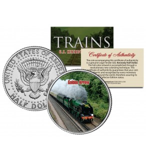 GOLDEN ARROW TRAIN - Famous Trains - JFK Kennedy Half Dollar U.S. Colorized Coin