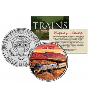 INDIAN PACIFIC TRAIN - Famous Trains - JFK Kennedy Half Dollar U.S. Colorized Coin