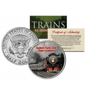 SOUTHERN PACIFIC 4449 STEAM - Famous Trains - JFK Kennedy Half Dollar U.S. Colorized Coin