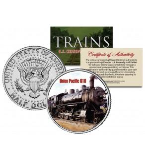 UNION PACIFIC 618 TRAIN - Famous Trains - JFK Kennedy Half Dollar U.S. Colorized Coin
