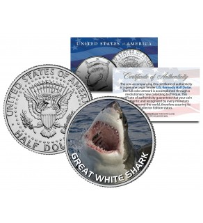"""GREAT WHITE SHARK """" Jumping Out of Water """" JFK Kennedy Half Dollar US Colorized Coin"""